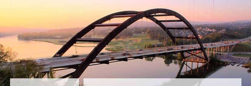 Austin's Pennybacker Bridge over the Colorado River at sunset